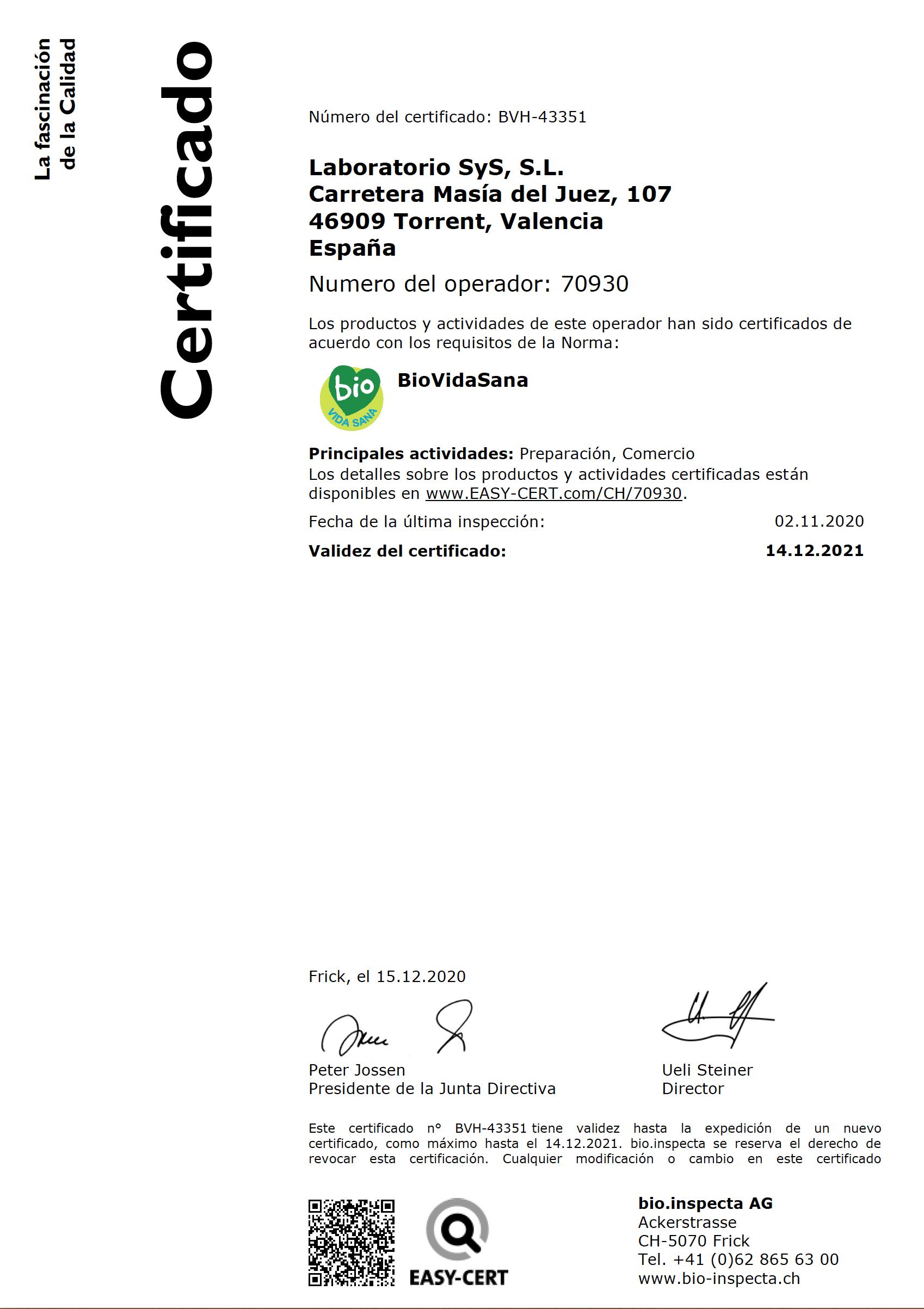 Certificado Biovidasana